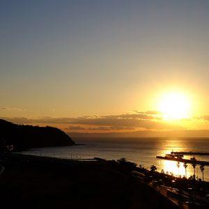 2017/01/21の夕陽と江ノ島